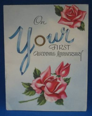 VINTAGE 1st WEDDING ANNIVERSARY GREETING CARD 1952 RARE