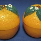 VINTAGE ORANGE FRUIT FIGURAL PLASTIC SALT PEPPER SHAKER
