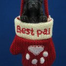 BLACK POODLE PUPPY BEST PAL MITTEN CHRISTMAS ORNAMENT