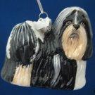 SHIH TZU BLACK WHITE DOG BLOWN GLASS CHRISTMAS ORNAMENT