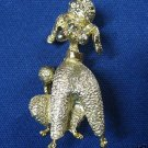 VINTAGE GOLD POODLE DOG LAPEL PIN BROOCH 1970'S CUTE