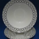 KNOWLES CHINA PLATINUM DIAMONDS 2 CEREAL BOWLS 1936
