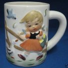 VINTAGE GOOSE GIRL MUG CUP 3D RAISED DESIGN MID CENTURY