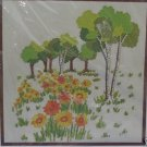 CREWEL EMBROIDERY STITCHERY KIT DAISIES BIRCHES NEW