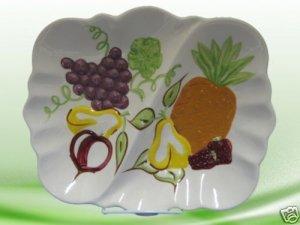 HAND PAINTED FRUIT DIVIDED PLATTER DISH POTTERY UNIQUE