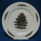 CHRISTMAS VILLAGE TREE HOLIDAY DINNER CAKE PLATE MINT