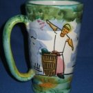 ITALIAN ART POTTERY TALL MUGS CUPS ITALY HAND PAINTED