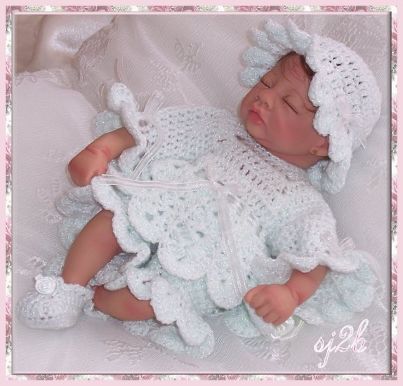 Little Pierrot Custom Crochet Set for Collector Doll and Reborn SJ2B