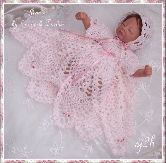Christening Custom Crochet Set for Collector Doll and Reborn SJ2B