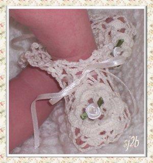 Irish Rose Heirloom Thread Crochet Booties for Baby and Reborn SJ2B