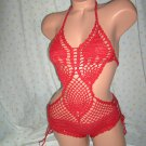 Red Crochet Pineapple One Piece Swimsuit (Small/Medium)