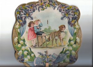 Vintage Hand Held Fan - Children with Dog Pulling Sled - Day Shoe Store Adv - Hastings, Nebr