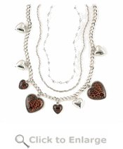 Leopard Heart Charm Necklace