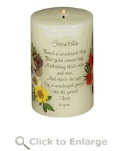 Friendship Poem Pillar Candle