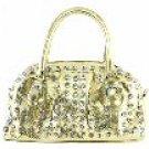 Metallic-Look 2-Pocket Acrylic Stones Studded Handbag w/Handles & Removable Shoulder Strap