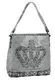 Crown & Acrylic Stones 5-Pocket Faux Alligator Day Bag w/Studded Shoulder Strap