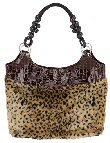 Faux Animal Print Fur & Alligator Skin 2-Pocket Bag w/Beaded Handles