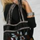 Black Viscose Bag Embroidered