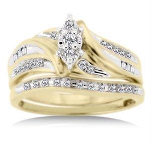 1/3 Carat Diamond T.W. Bridal Set in 10kt Yellow Gold