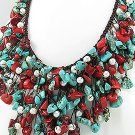 beach waxed wicker necklace made with red-torquise stones