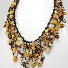 beach waxed wicker necklace made with yellow/brown stones