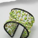 Cuff bracelet with green or white stones for party or day out