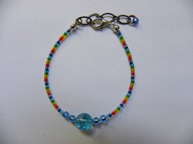 Blue orb throat expression energy chakra bracelet