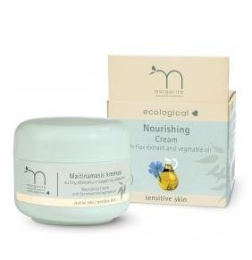 Ecological nourishing cream, with flax extract and vegetable oil