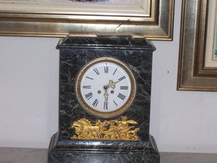 Green Marble Clock w/Gilt Bronze Neo-classical Mount