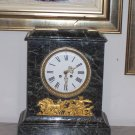 Green Marble Clock w/Gilt Bronze Neo-classical Mount