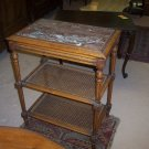 Louis XVI Style Tea Table w/Cane Shelves And Marble Top