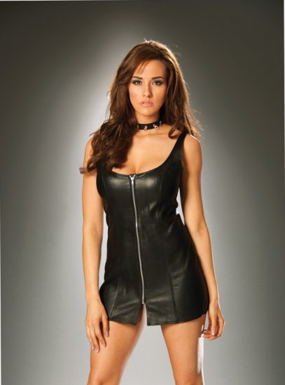 Zip front leather mini dress Sz M