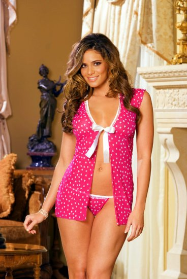 Mesh baby doll with cap sleeves
