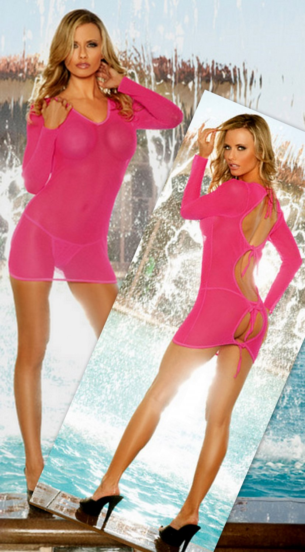 Long sleeve fishnet mini dress Black Light Receptive.