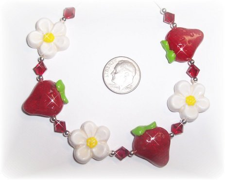 Polymer Clay STRAWBERRY STRAWBERRIES Bracelet PRETTY!