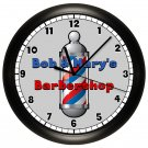 PERSONALIZED BARBER SHOP WALL CLOCK BARBER POLE