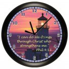 Personalized Scripture Lighthouse Wall Clock Choose Verse