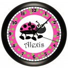 Personalized Pink and Green Ladybug Nursery Wall Clock Girl's Bedroom