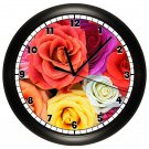 ROSES WALL CLOCK ROSE FLOWER GARDEN DECOR