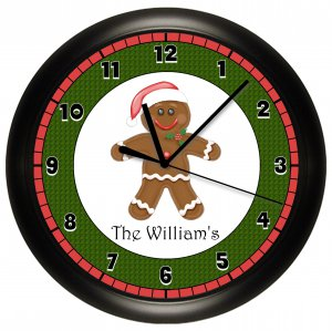 Personalized Gingerbread Man Wall Clock Christmas Decor