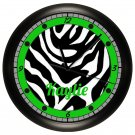 Personalized Lime Green Zebra Print Wall Clock Bedroom Art