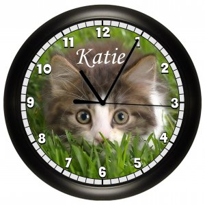 Personalized Kitten Wall Clock Cat Kitty in grass cute Decor Art
