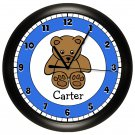 Personalized Brown and Blue Teddy Bear Wall Clock Stuffed Bear
