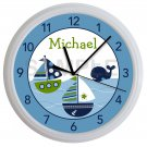 Personalized Blue and Green Sailboat Nursery Wall Clock