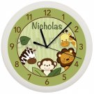 Personalized Safari Jungle Nursery Wall Clock
