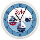 Personalized Blue and Red Sailboat Nursery Wall Clock