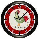 Personalized Rooster Kitchen Wall Clock
