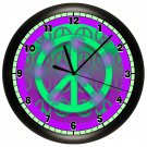 Purple and Green Peace Sign Wall Clock Bedroom Decor Art