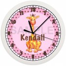 Personalized Pink Giraffe Nursery Wall Clock Nursery Decor