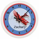 Personalized Blue and Red Airplane Nursery Wall Clock